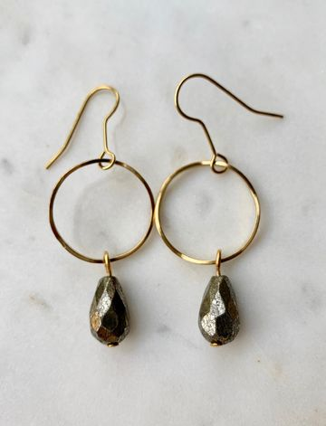 Wavy pyrite earrings